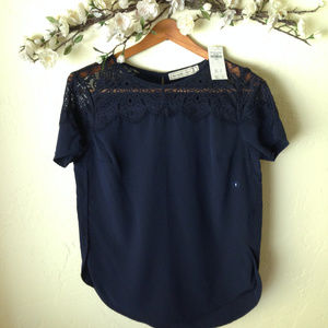 Abercrombie & Fitch Navy Lace Blouse